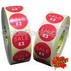 2000 x 'SALE £3' Retail Self Adhesive Red Shop Price Labels Stickers 35mm