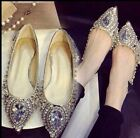Sexy Europe Womens Rhinestone Crystal Pointed Toe Fashion Pumps OL Flats Shoes