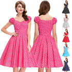 Womens NEW Polka Dots 50's Vintage Pin up Party Spring Summer Casual Swing Dress