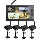 "7"" TFT LCD Quad Monitor DVR Wireless Security System with 2/4 IR Camera Outdoor"