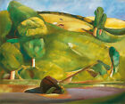 "BORIS GRIGORIEV ""Sailing Boat in a Cubist Landscape"" grazing cattle hillside NEW"