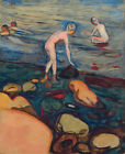 "EDVARD MUNCH ""Bathers"" balancing boy caution water CHOOSE CANVAS SIZE, from 55cm"