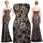 New Formal Long Mermaid Bridesmaids Strapless Lace Gown Evening Prom Party Dress
