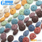 "27mm Disc Shape Lava Rock Beads Jewelry Making Gemstone Beads 15"" 9 Colors Pick"