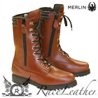 MERLIN BROWN MID LENGTH COMBAT ARMY WATERPROOF MOTORCYCLE MOTORBIKE BOOTS