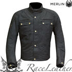 MERLIN SANDON WATERPROOF WAX COTTON SHORT LENGTH MOTORCYCLE BIKE BLACK JACKET