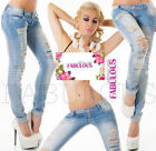Sexy Women's Skinny Ripped Jeans Designer Low Rise Size 6 8 10 12 14 XS S M L XL