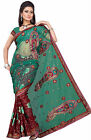 Bollywood Designer Sarees Sari Embroidered Net,Faux Georgette Multi By Triveni