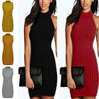 Sexy Women's Knit Sleeveless Sweater Slim Bodycon Round Neck Dress Outwear New