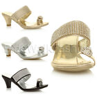 Womens ladies mid heel diamante toe ring slip on strappy party sandals shoe size