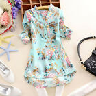 Elegant Womens V Neck Floral Casual Long Sleeve Top T Shirt Blouse UK 8-22/S-3XL