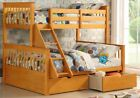 Wooden Triple Bunk Bed And Drawers - White Or Pine 3ft & Double  -2 FREE PILLOWS