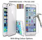 TPU GEL CASE + TEMPERED GLASS SCREEN PROTECTOR FOR APPLE IPHONE 7 PLUS 5 6 6S 6+