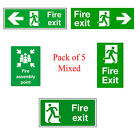 5 X FIRE EXIT & ASSEMBLY POINT SAFETY SIGN PRINTED ON RIGID FOAMEX BOARD A4 SIZE