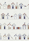Fryetts Beach Huts Blue Seaside Cotton Fabric Curtains Upholstery Quilting Craft