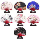 Chinese Wedding Favor Floral Wood Folding Hand Fan w Display Holder