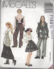 McCalls Sewing Pattern # 7153 Girls Vest Tunic Top Skirt and Pants  Choose Size
