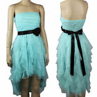 Hi-Low Mesh Ruffle Lining Pleat Sexy Tube DRESS w/ Ribbon Stretch Prom Party SML