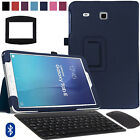Folio PU Leather Case Cover+Bluetooth Keyboard Mouse for Sam