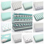 PASTEL AQUA BLUE & GREY 100% COTTON FABRIC by the metre CLOUDS ZIG ZAG DOTS STAR