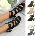 WOMENS BLOCK MID HEEL LADIES LACE UP ANKLE BOOTS CUT OUT SANDALS SHOES SIZE