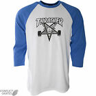 "THRASHER MAGAZINE ""Skate Goat"" Raglan T-Shirt 3/4 Blue/White Choose S M L XL"