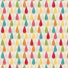 MAKOWER BOHEMIA - TEAR DROP - IVORY CERISE GREEN MUSTARD - 100% COTTON FABRIC