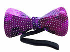NEW PURPLE Sequin Bow Tie Unisex Costume Men's Women's Mardi Gras Parade Fun