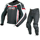 ARMR Moto Raiden Leather Motorcycle Jacket & Trousers Black Red White Kit Outfit