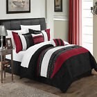 Carlton Black, Burgundy & White 6 Piece Embroidery Comforter Bed In A Bag Set