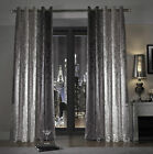 Kylie Minogue Luxury Velvet Natala Slate Designer Ready Made Eyelet Curtains