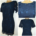 NEW EX HIGH ST STORE DRESS SHIFT TUNIC LACE NAVY FLORAL CROCHET MINI  SZ 6 - 20