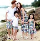 New Family cotton clothing Casual Mother girls long Vest Dress Father boys sets