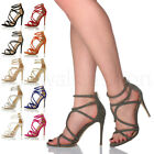 WOMENS LADIES CROSSED ELASTIC STRAPS HIGH HEEL SANDALS PARTY PEEP TOE SHOES SIZE