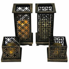 Asian Oriental Wooden Lantern with LED Candle Light - Home & Garden Ornament