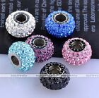 European Big Hole Stainless Steel Czech Crystal Pave Lantern Loose Beads Charms