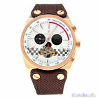 SPEATAK Mens Real Leather Canvas Strap Automatic Mechanical  24-Hour Sport Watch