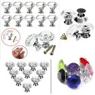 1 2 4 8pc 40MM Crystal Glass Door Knobs Diamond Drawer Cabinet Furniture Kitchen