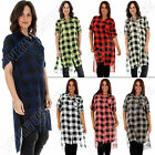 Womens Italian Lagenlook Plaid Print Back Pocket Split Shirt Dress Plus Size 16