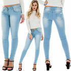 New Ladies Classic High Waist Stretch Skinny Crinkled Denim Pants Jeans Jeggings