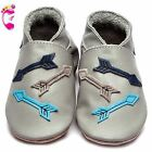 Girls Boys Luxury Leather Soft Sole Baby Shoes - Arrows Grey - Inch Blue