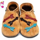 Girls Boys Luxury Leather Soft Sole Baby Shoes - Arrows Tan Suede - Inch Blue