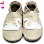 Girls Boys Luxury Leather Soft Sole Baby Shoes - Swan Cream - Inch Blue