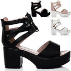 WOMENS LACE UP CLEATED SOLE BLOCK HEEL SANDALS PUMPS SHOES SZ 5-10