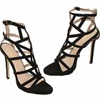 Womens Caged Cut Out Peep Toe Gladiator Faux Suede Sandal High Heels