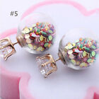 Transparent Candy Sequin Double Side Round Pearl Earings & Resin Crystal Ball