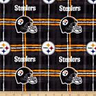 """Flannel Fabric Pre Cut Pittsburgh Steelers 42"""" W Sheets 100% Cotton NFL Licensed"""
