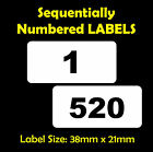 520 Consecutive, Sequential Numbered Labels Size 38mm x 21mm - Adhesive Choice