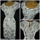 NEW WHITE STUFF BEIGE GREY LEAF FLORAL TEA DRESS TUNIC SHIFT SUMMER SIZE 8 - 18