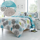 Abstract Floral Blooms Duvet Cover Set in Teal Blue Green & Grey - Reversible